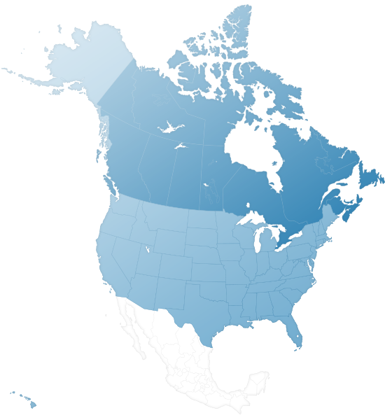 Stylized map of Canada and the United States