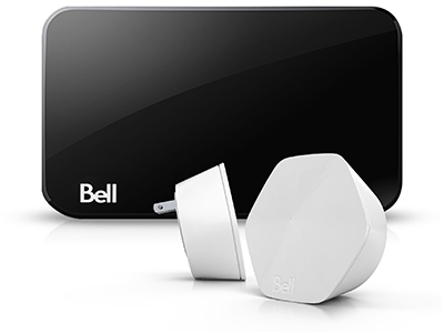 Image of the Wi-Fi pods and hub from Bell