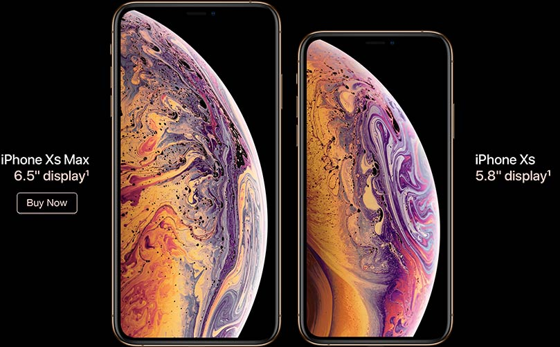 iPhone XS Max, 6.5-inch display. iPhone XS Max, 5.8-inch display. Buy now.