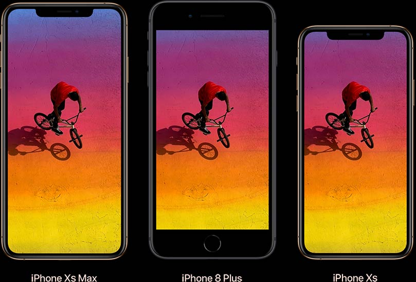 Comparaison entre iPhone XS Max, iPhone 8 Plus et iPhone XS