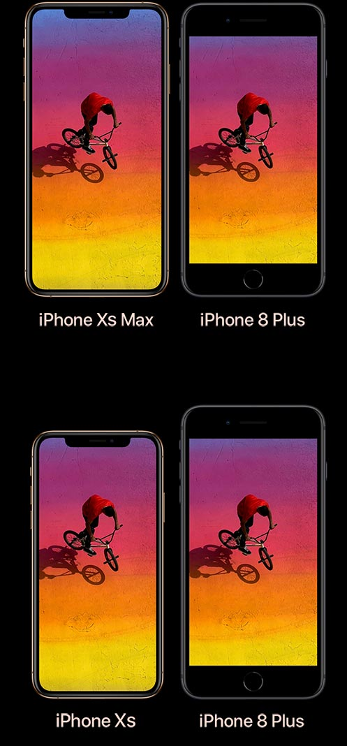 Comparaison entre iPhone XS Max et iPhone 8 Plus, et entre iPhone XS et iPhone 8 Plus