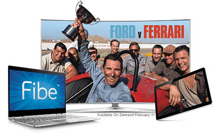 Fibe Internet and Fibe TV with Ford versus Ferrari poster, available on demand