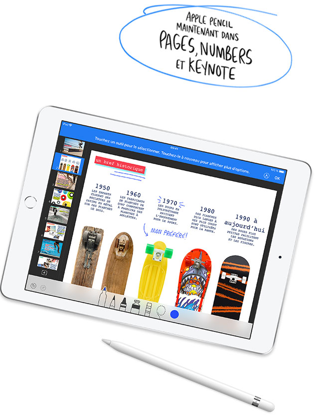 Apple Pencil, maintenant dans Pages, Numbers et Keynote