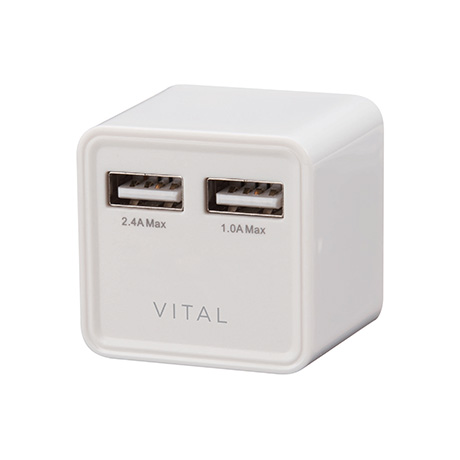 Vital 3.4A Dual USB wall charger (white)