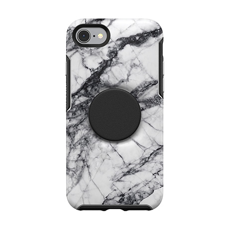 Otter + Pop Symmetry case (white marble) for iPhone 7/8
