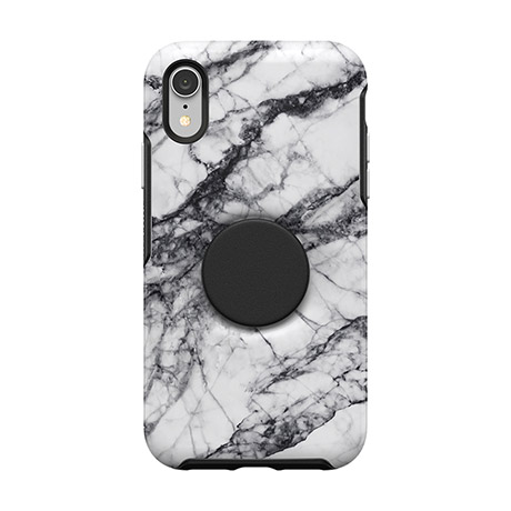 Otter + Pop Symmetry case (white marble) for iPhone XR