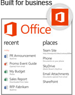Only Windows Phone has an Office Hub with Outlook, Office, Skype, SharePoint and other apps built in